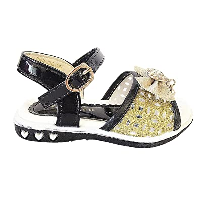 Ameta QQ-38I Girls Infant Toddler Bow Velcro Synthetic Cute Dress Sandals