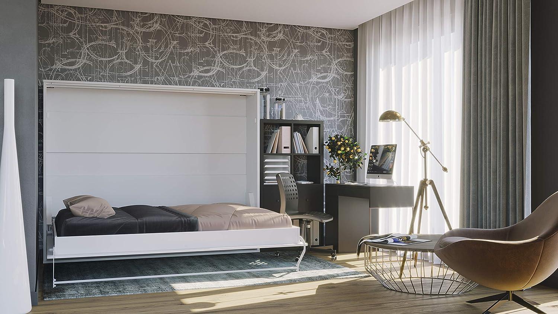 Invento - Cama plegable de pared horizontal, armario, cama, cama de invitados, plegable, armario con cama plegable integrada, habitación de invitados, salón, dormitorio, 160 x 200 cm: Amazon.es: Hogar