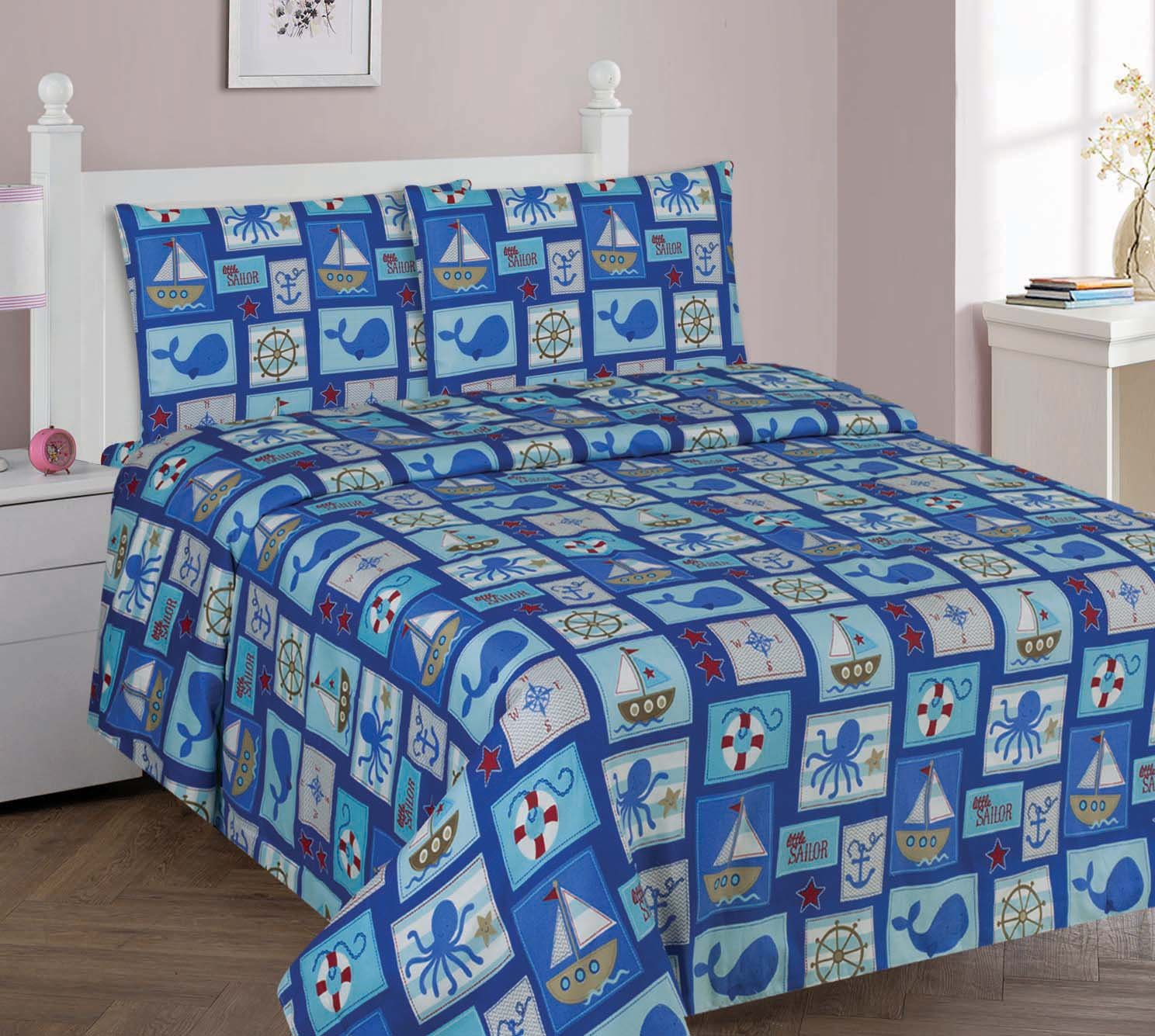 MB Collections Blue Wale, Blue Sailer, Brown Boat 4 Piece Printed Sheets with Pillowcases for Girls / Kids / Teens # Full Size 4 Pcs Sheets Set