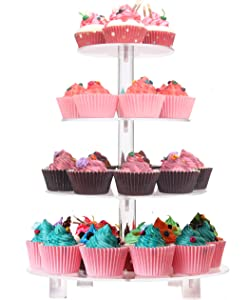 LoveDisplay 4 Tiers Round Wedding Party Tree Tower Cupcake Display Stand With Base