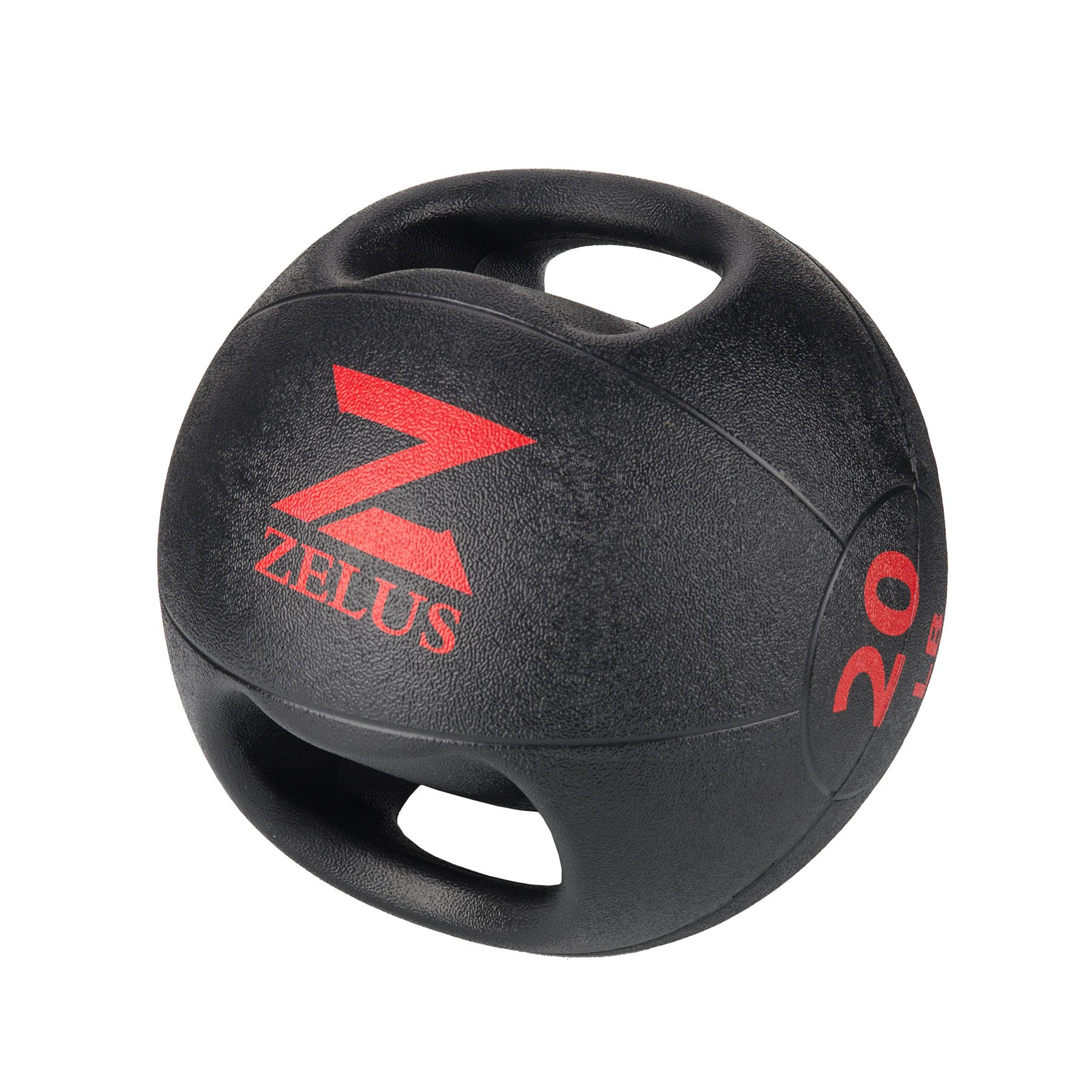 ZELUS Dual Grip Medicine Ball Weight Exercise Ball with Durable Rubber and Textured Grip for Strength Balance Training - Weight Sizes 10/20 lbs. Available (20.0 Pounds)