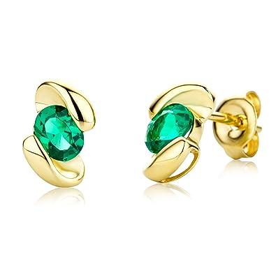 Miore Earrings Women Yellow Gold studs Solitaire Emerald 9 Kt/375 tXcwCKTb