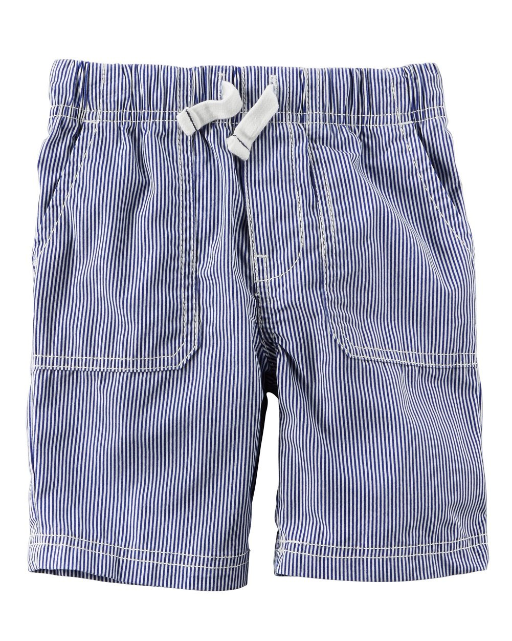 Carter's Boys' Pull On Poplin Navy and White Striped Shorts (3t)