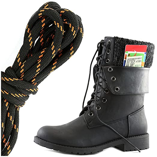 Women's Military Lace Up Buckle Combat Boots Ankle Mid Calf Fold-Down Exclusive Credit Card Pocket Black Lime Black PU 12 2A(N) US