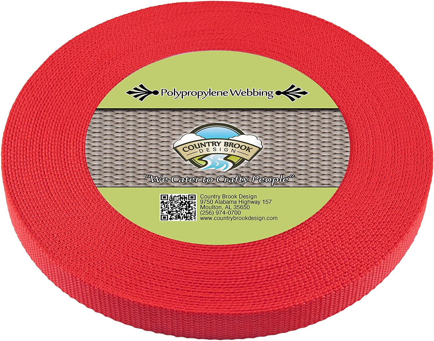 Country Brook Design® 1 1//2 Inch Red Polypro Webbing 100 Yards