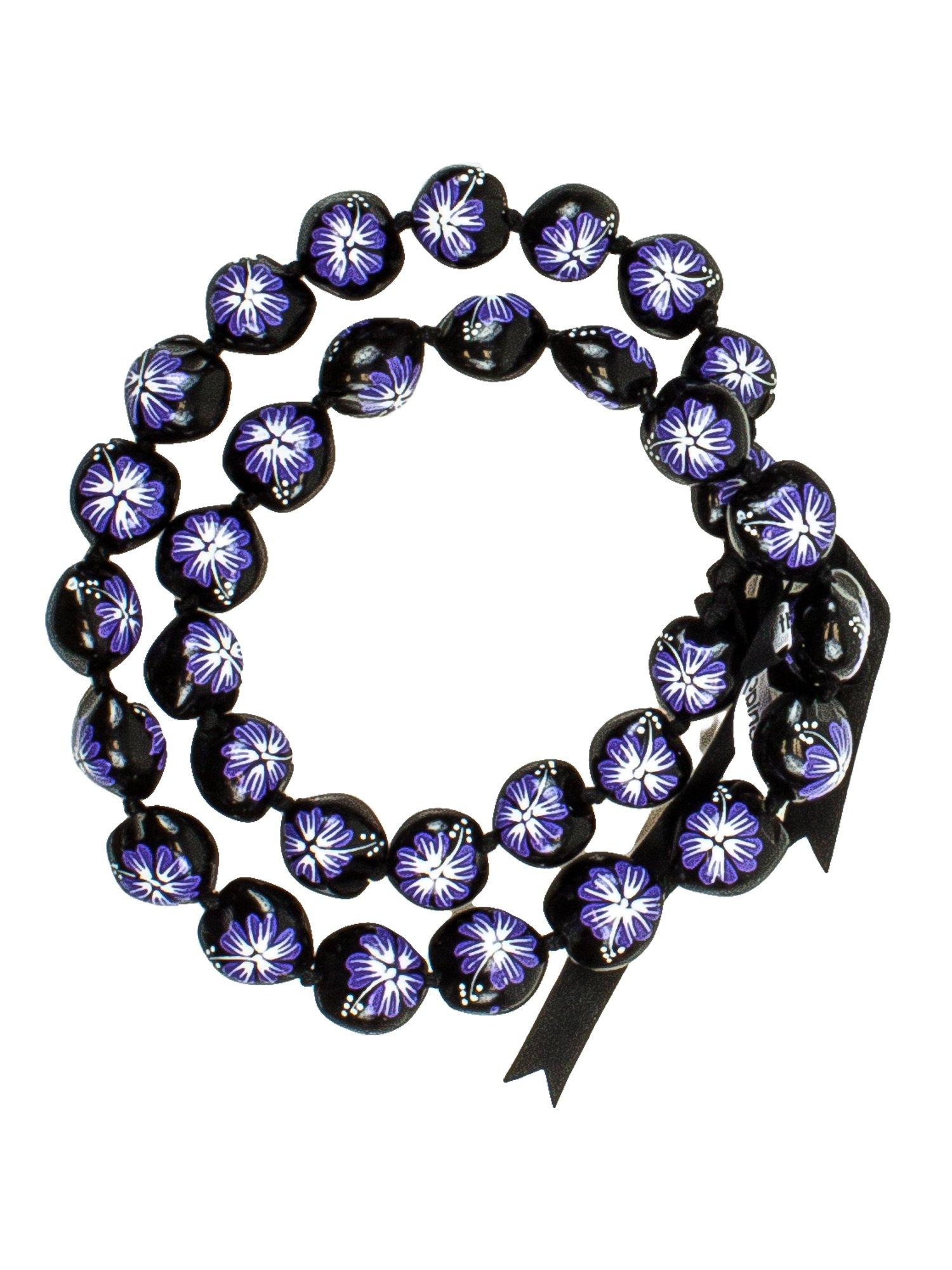 Barbra Collection Hawaiian Style Kukui Nut Lei Hibiscus Flower Hand Painted 32 Nuts (Purple Flower)
