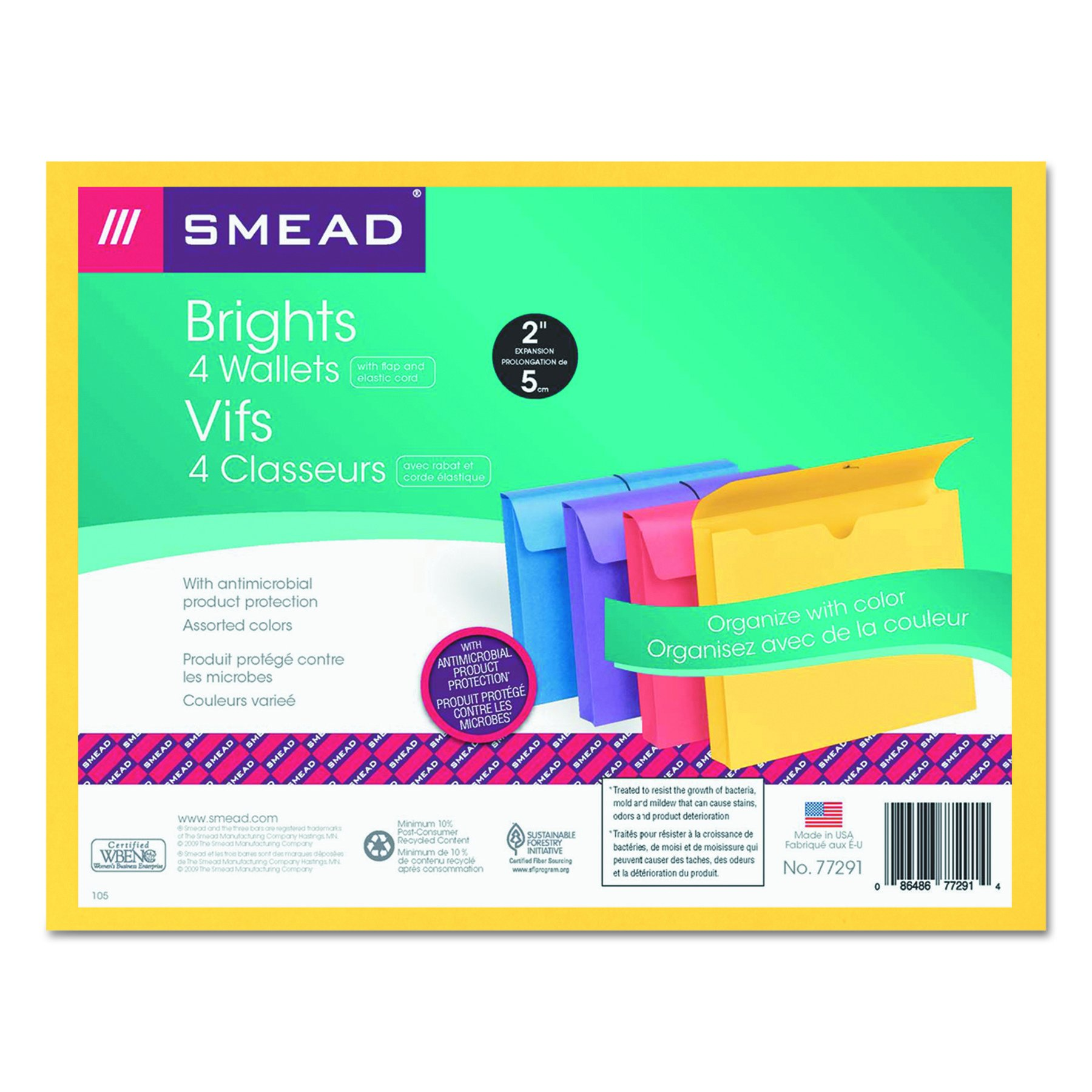 Smead 77291 2'' Exp Antimicrobial File Wallet, Letter, Four Colors (Pack of 4) by Smead (Image #4)