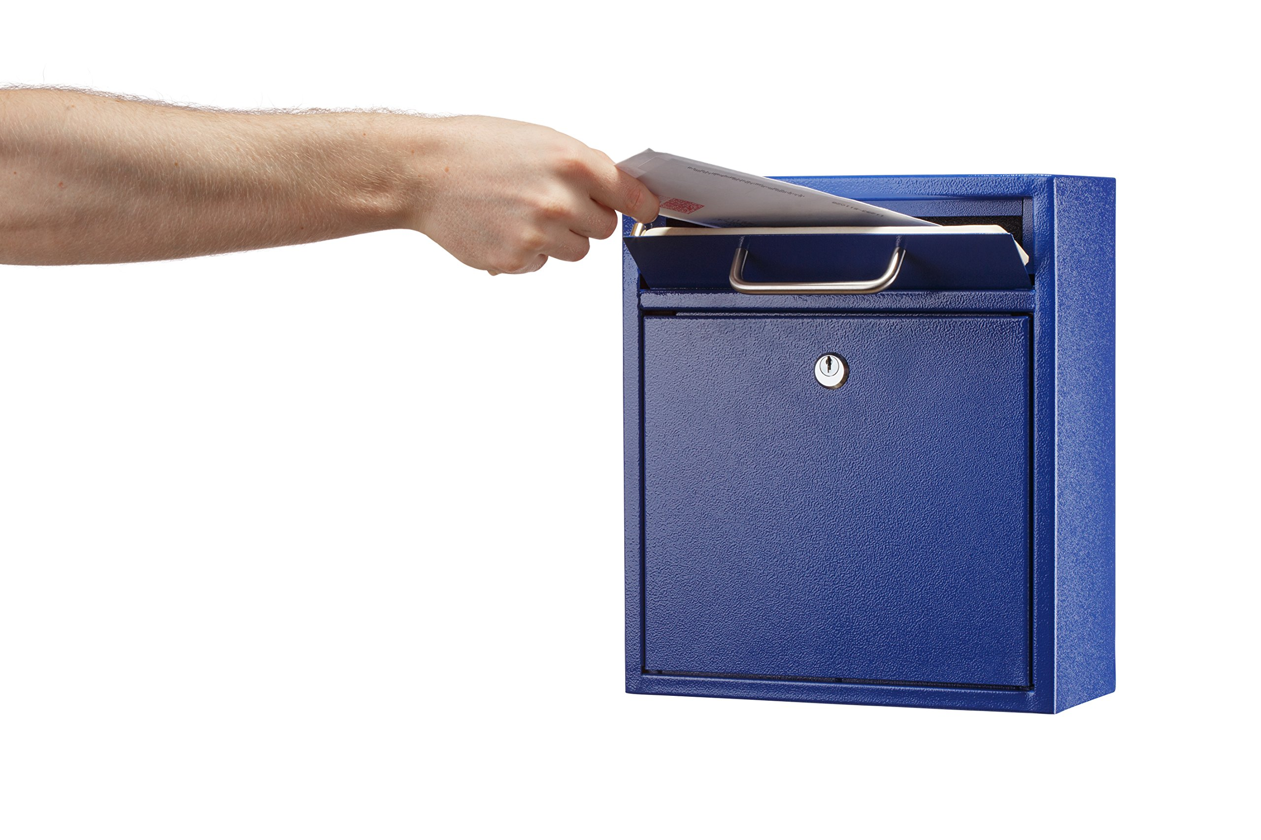 AdirOffice Locking Drop Box - Wall Mounted Mailbox - (Medium, Blue) by Adir Corp. (Image #3)