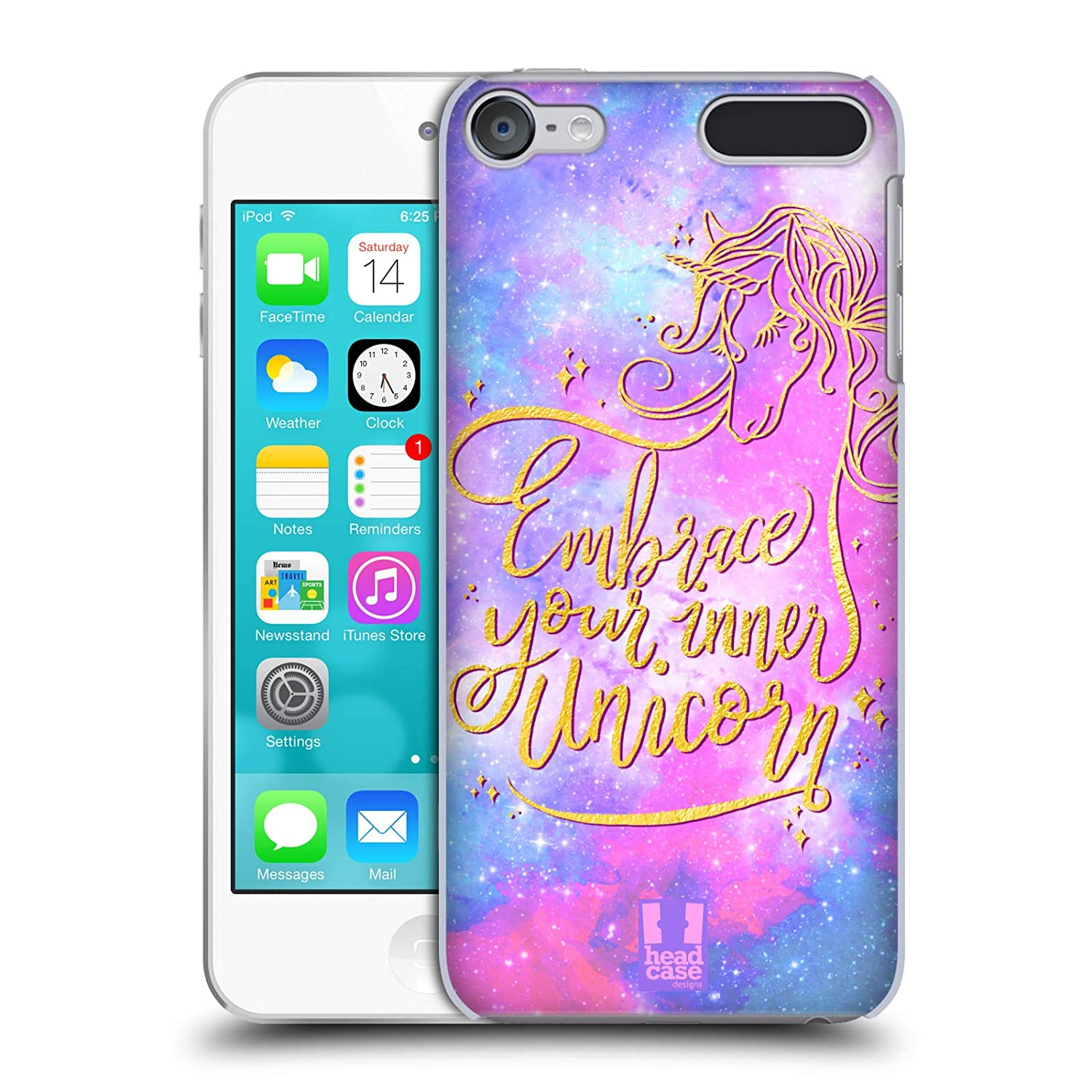 Head Case Designs Teal Unicorns and Galaxy Hard Back Case Compatible for Apple iPod Touch 4G 4th Gen