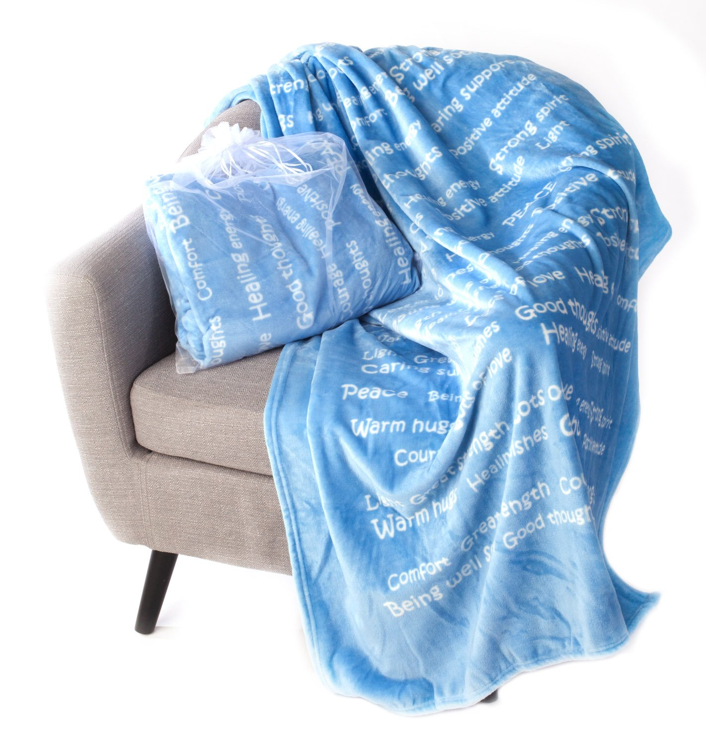 BlankieGram Healing Thoughts Blanket The Perfect Caring Gift (Blue)
