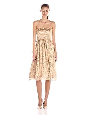 Amazon.com: Jessica Simpson Women's Strapless Metallic Floral Mesh ...