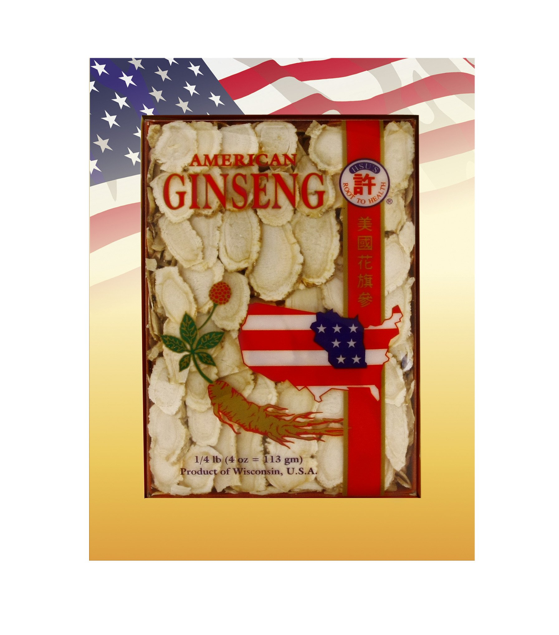 HSU's Ginseng SKU 0126-4 | Mixed Large-Medium Slices | Cultivated American Ginseng from Marathon County, Wisconsin USA w/One Free Single American Ginseng Tea Bag | 许氏花旗参 | 4oz Box, 西洋参, B01MSDEECQ