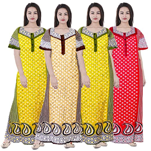 Silver Organisation Womens Nighty Nightwear Gown Cotton Maxi Dress ... b056a4881