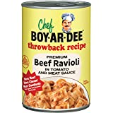 Chef Boyardee Throwback Recipe Premium Beef Ravioli in Tomato and Meat Sauce, 15 Oz. (Pack of 12)