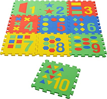 Archana Nhr Colorful Kids Play Puzzle Style Mat with Pop Out Numbers and Geometric Shapes. 10 Pcs (Interlocking) 12 X 12 Each Piece