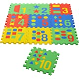 """Archana Nhr Colorful Kids Play Puzzle Style Mat with Pop Out Numbers and Geometric Shapes. 10 Pcs (Interlocking) 12"""" X 12"""" Each Piece"""