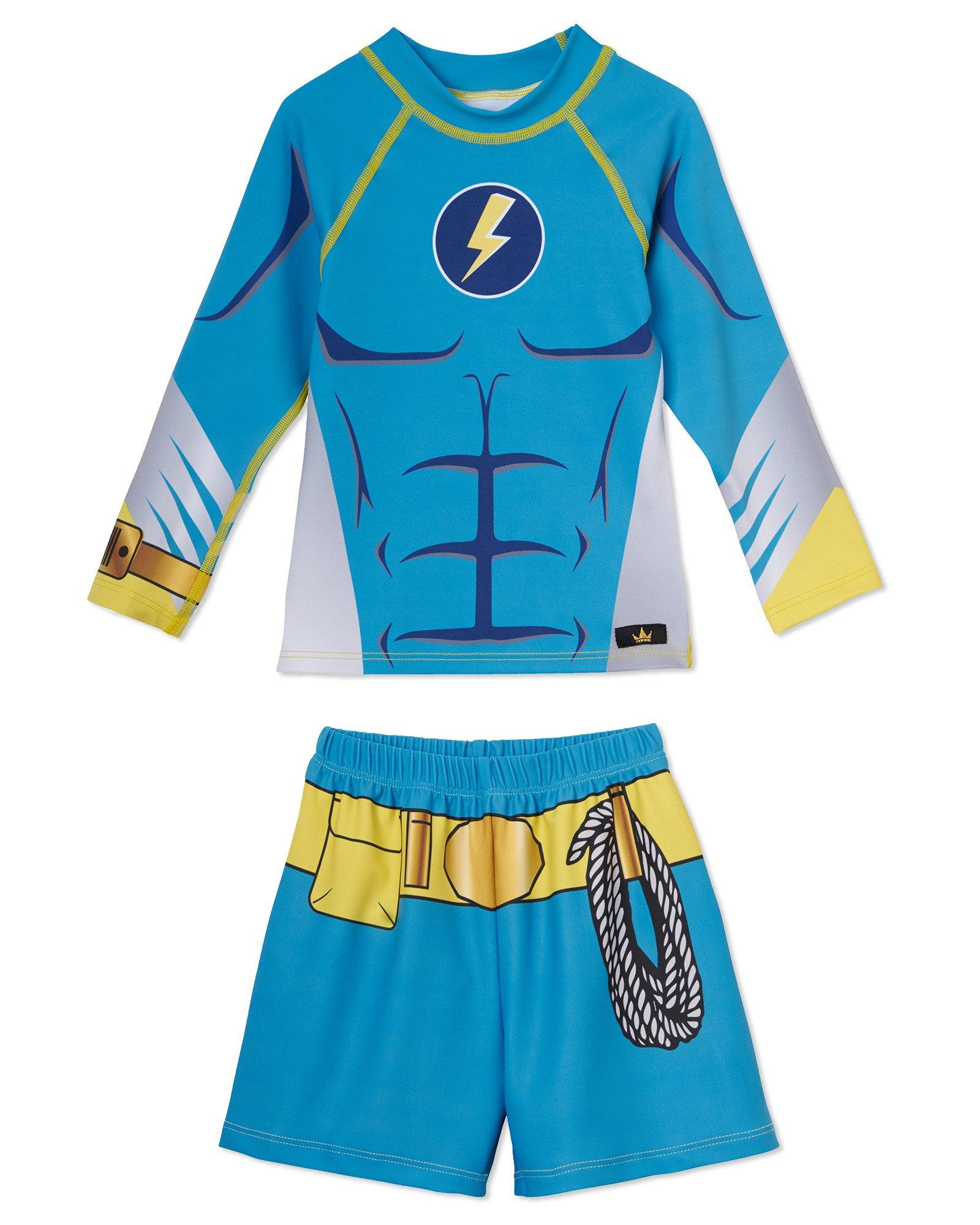 Little Boys Superhero Swim Trunks and Swimsuit Set – UPF 50 – Won't Fade – USA Made