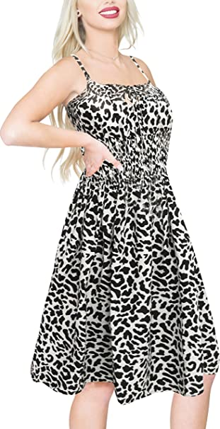 LA LEELA Women\'s Plus Size Beach Dress Summer Casual Tube Swing Dress  Printed G