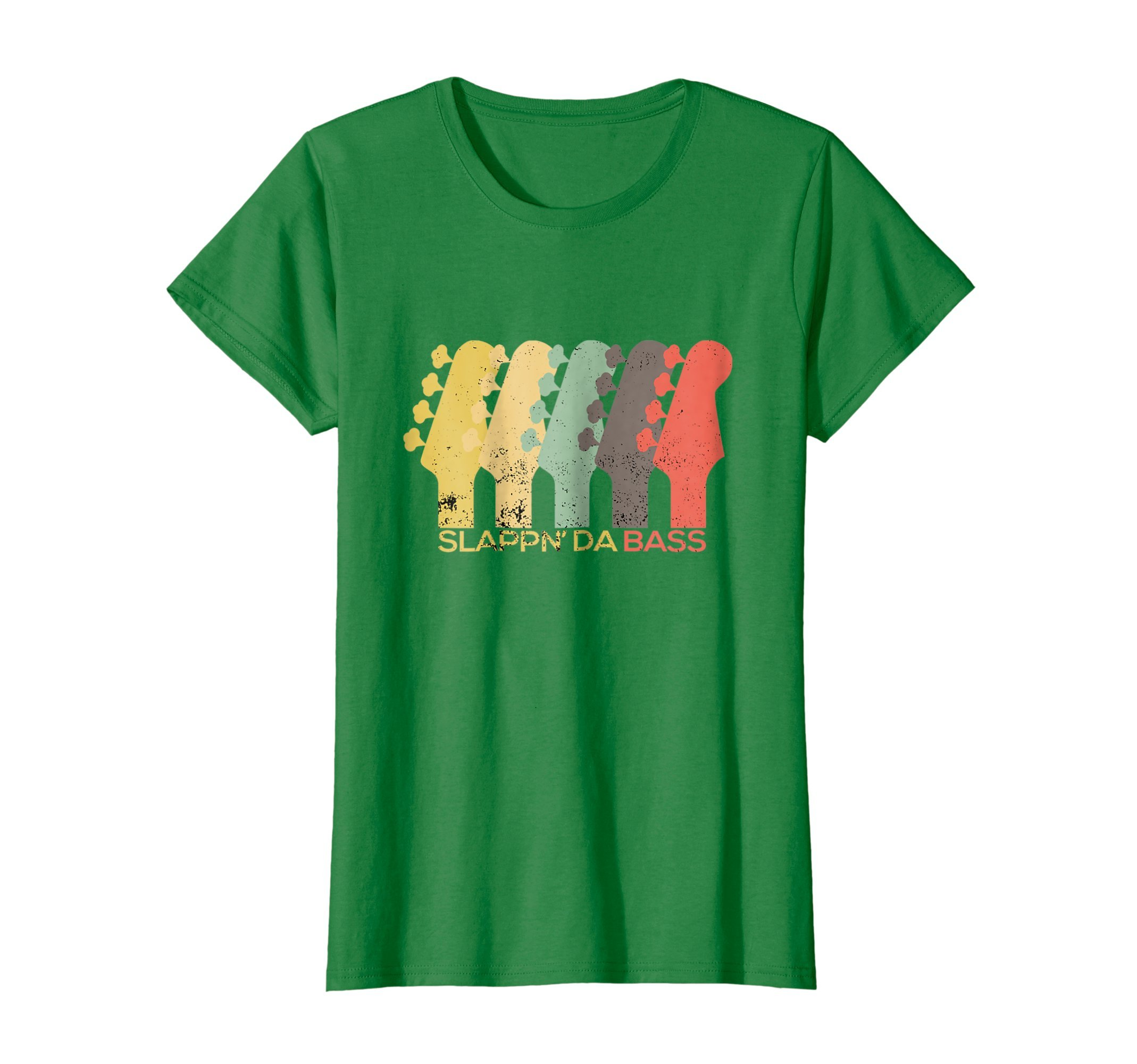 Womens Vintage Bass Guitar T-Shirt Guitar Headstock Shirt Gift Men Medium Kelly Green
