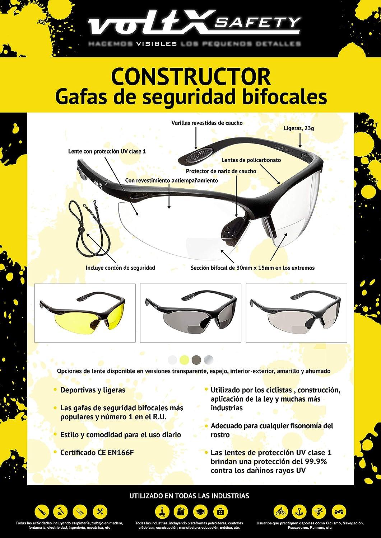 TRANS Reading Safety Glasses 3 x voltX CONSTRUCTOR Lunettes de s/écurit/é de lecture BIFOCALES avec Cordon dot/é dun arr/êtoir // Lunettes de cyclisme Certifi/ées CE EN166F COULEURS M/ÉLANG/ÉES dioptrie +1.0