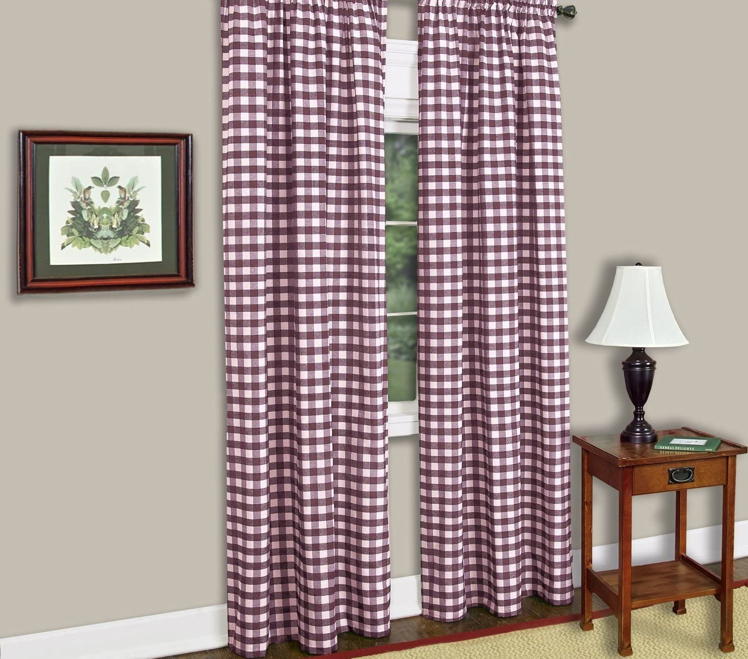 lovemyfabric Gingham/Checkered 100 Polyester Curtain Window Treatment/Decor Panel-Purple and White 2