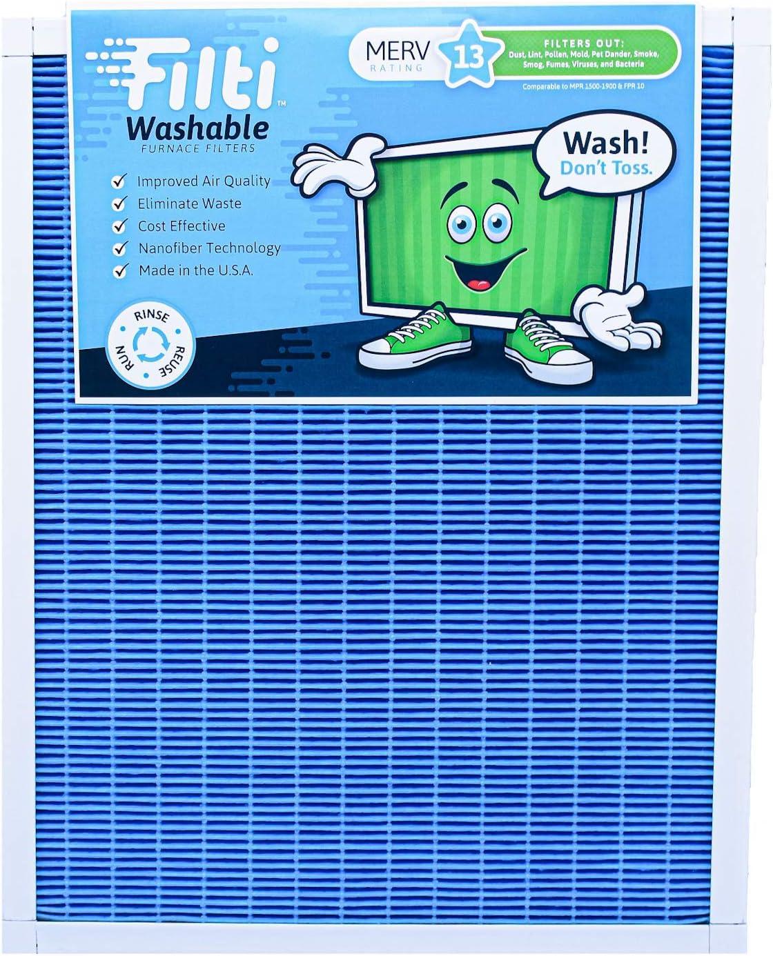 Filti Washable HVAC AC Furnace Filter - (16 x 20 x 1) MERV 13   Reusable Nanofiber Home Air Filter Capture the Smallest Particles & Ultra Fine Pollutants