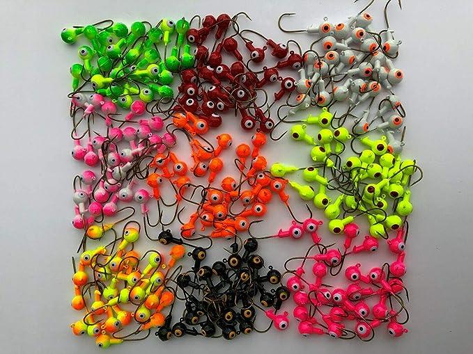 50PCS//Pack 1//32oz 2cm Lead Jig Heads Fishing Hooks Crappie Lure Bait Tackle Jigs