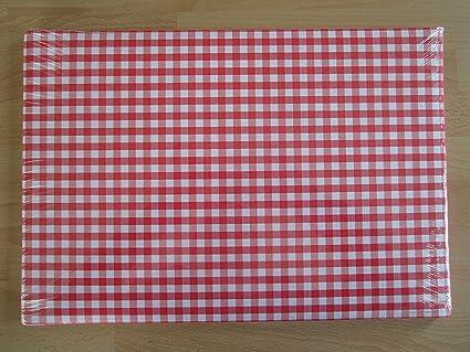 Lot De 100 Sets De Table En Papier Vichy Rouge 43 X 30 Cm