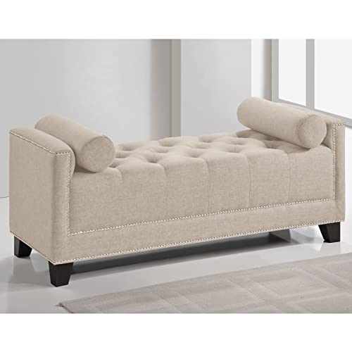 Baxton Studio Hirst Bedroom Bench, Light Beige