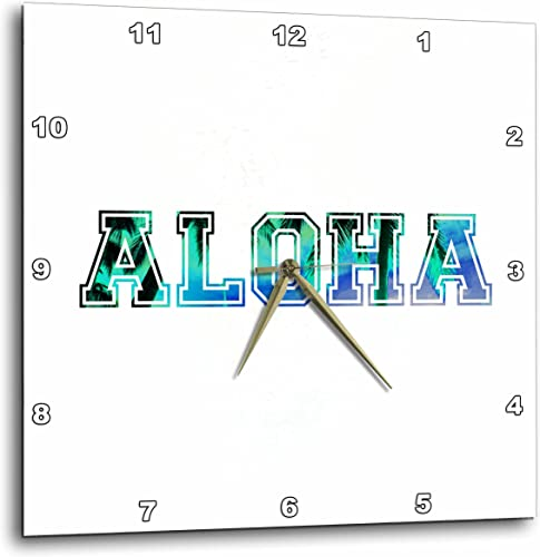 3dRose dpp_151329_3 Aloha Blue Turquoise Teal Sky with Black Silhouette of Hawaiian Palm Trees Tropical Hawaii Saying Wall Clock, 15 by 15-Inch