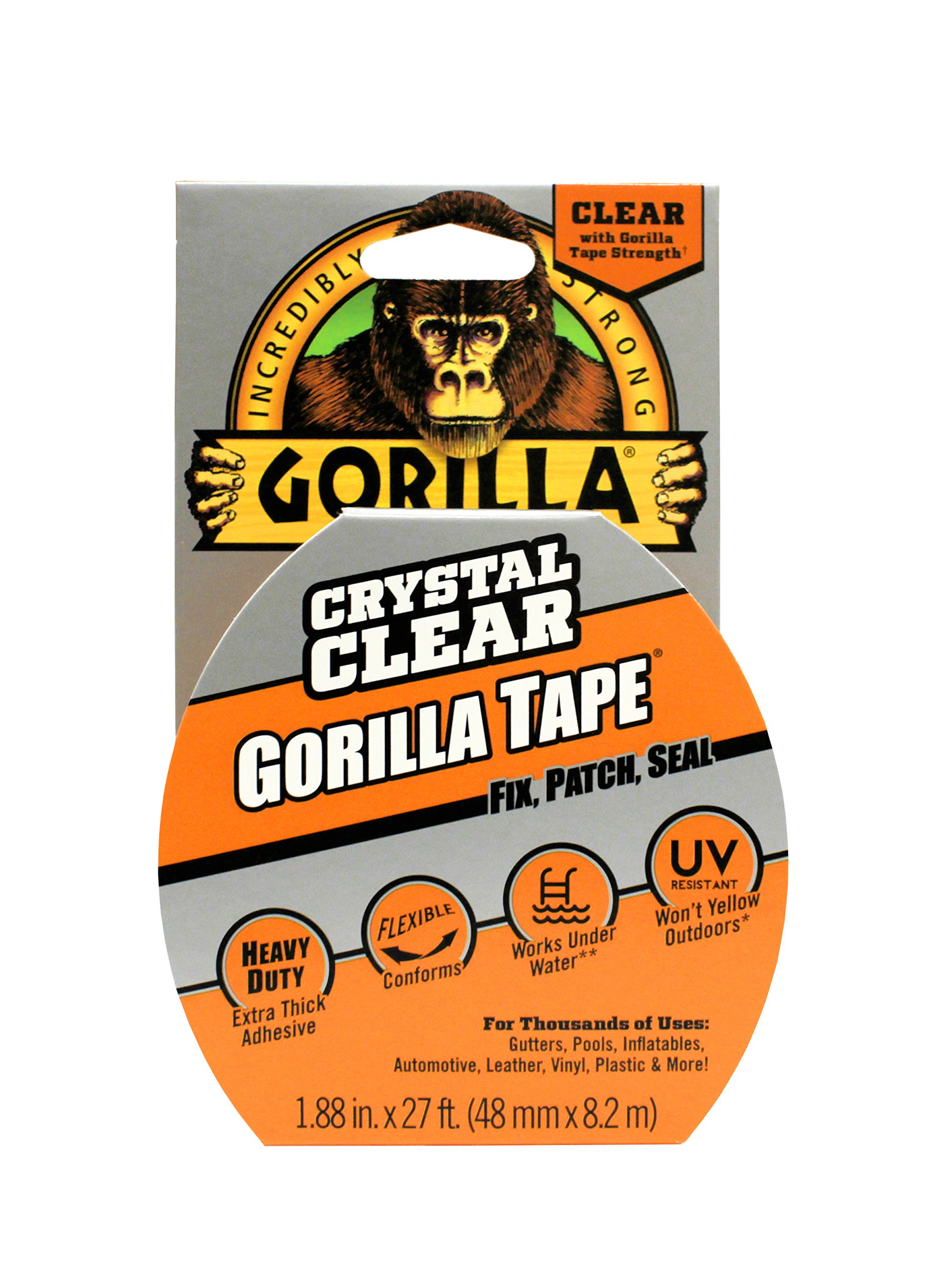 Gorilla Tape, Crystal Clear Duct Tape, 188 X 9 Yd,