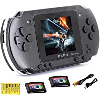 (Children'sGame Gifts) Handheld Game Console, 16-bit portable 156 classic game LCD game console, 2.7-inch color digital TFT screen, 2 game cards(black)