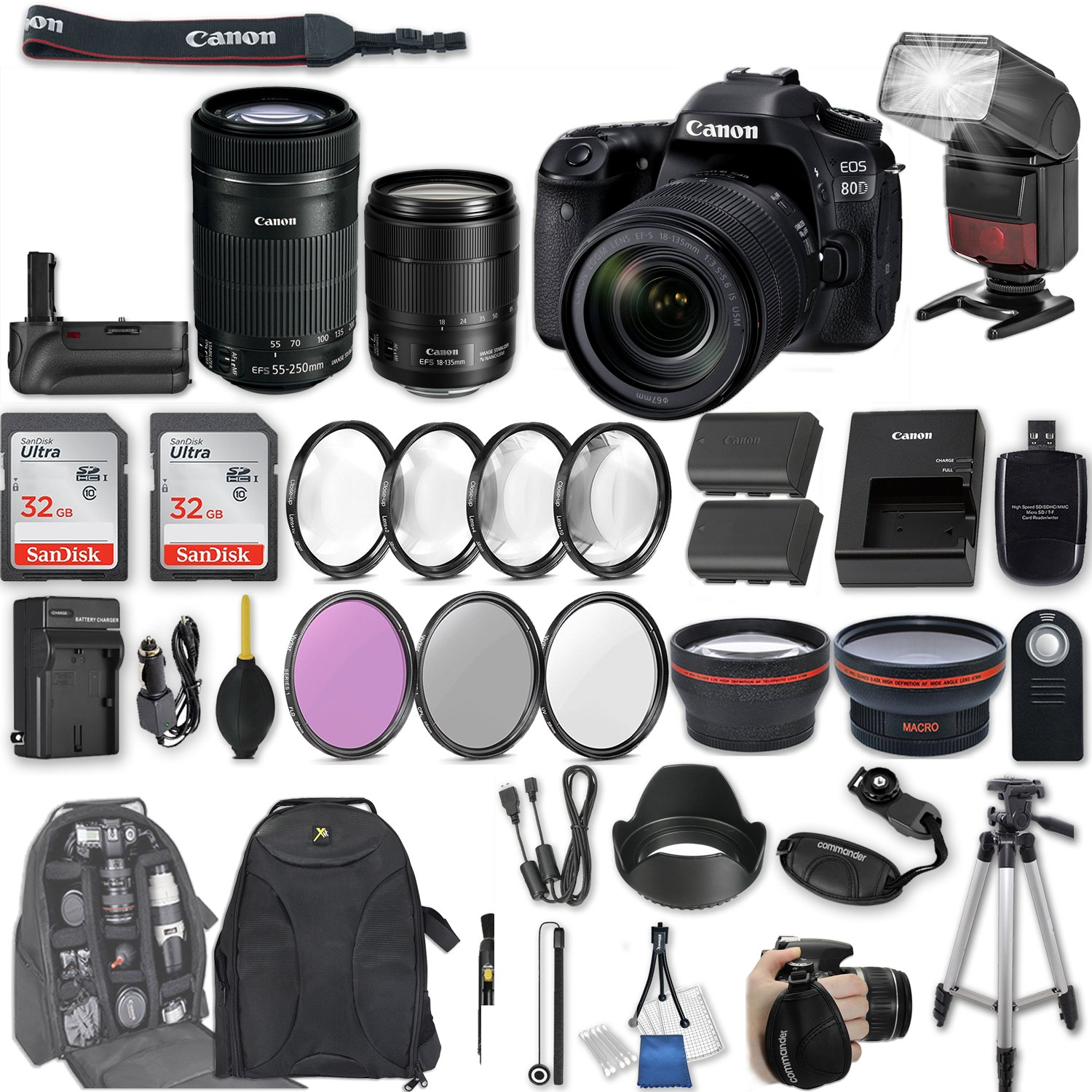 Canon EOS 80D DSLR Camera with EF-S 18-135mm f/3.5-5.6 IS USM Lens + EF-S 55-250mm f/4-5.6 IS STM Lens + 2Pcs 32GB Sandisk SD Memory + Automatic LED Flash + Battery Grip + Filter & Macro Kits + More by Canon