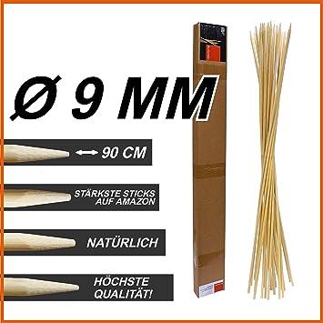Jumbo XXL BBQ bambú Sticks 9 mm de diámetro, 90 cm de ...