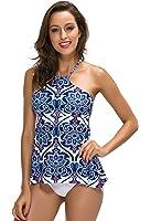 FanShou Women High Neck Tankini Top Sets Swimwear Two Piece Swimsuit Bathing Suits