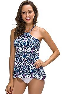 5cb50986b7f47 FanShou Women High Neck Tankini Swimsuits Printed Padded Bra Two Piece  Swimwear