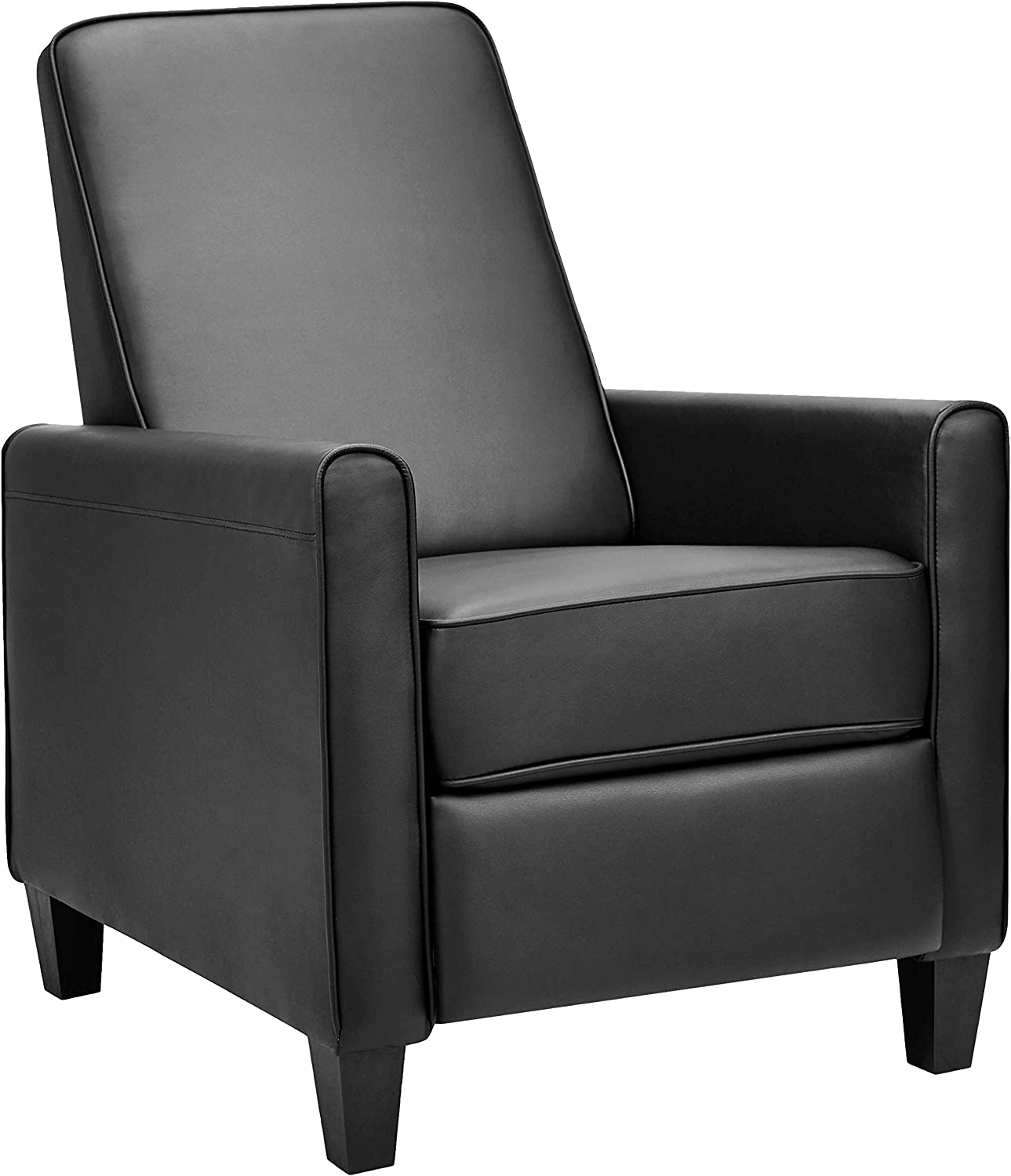AmazonBasics Classic Faux Leather Arm Push Recliner Chair – Black