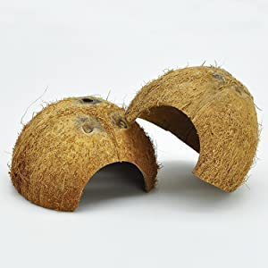 Niteangel 2 Pack Natural Coconut Reptile Hideouts, Lizard, Spider and Aquarium Fish Hide Cave