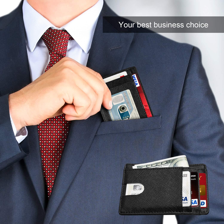 Yosemy Geldb/örse mit Geldb/örse mit Schutz f/ür RFID Karten Hochwertiges italienisches Leder Ultrad/ünne Au/ßentasche und Platz f/ür bis zu 9 Karten und Bargeld Schwarz