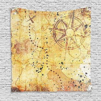 scocici Supersoft manta de forro polar isla mapa Decor Collection antiguo mapa del tesoro Grunge oxidado estilo pergamino impresión historia tema Boho ...