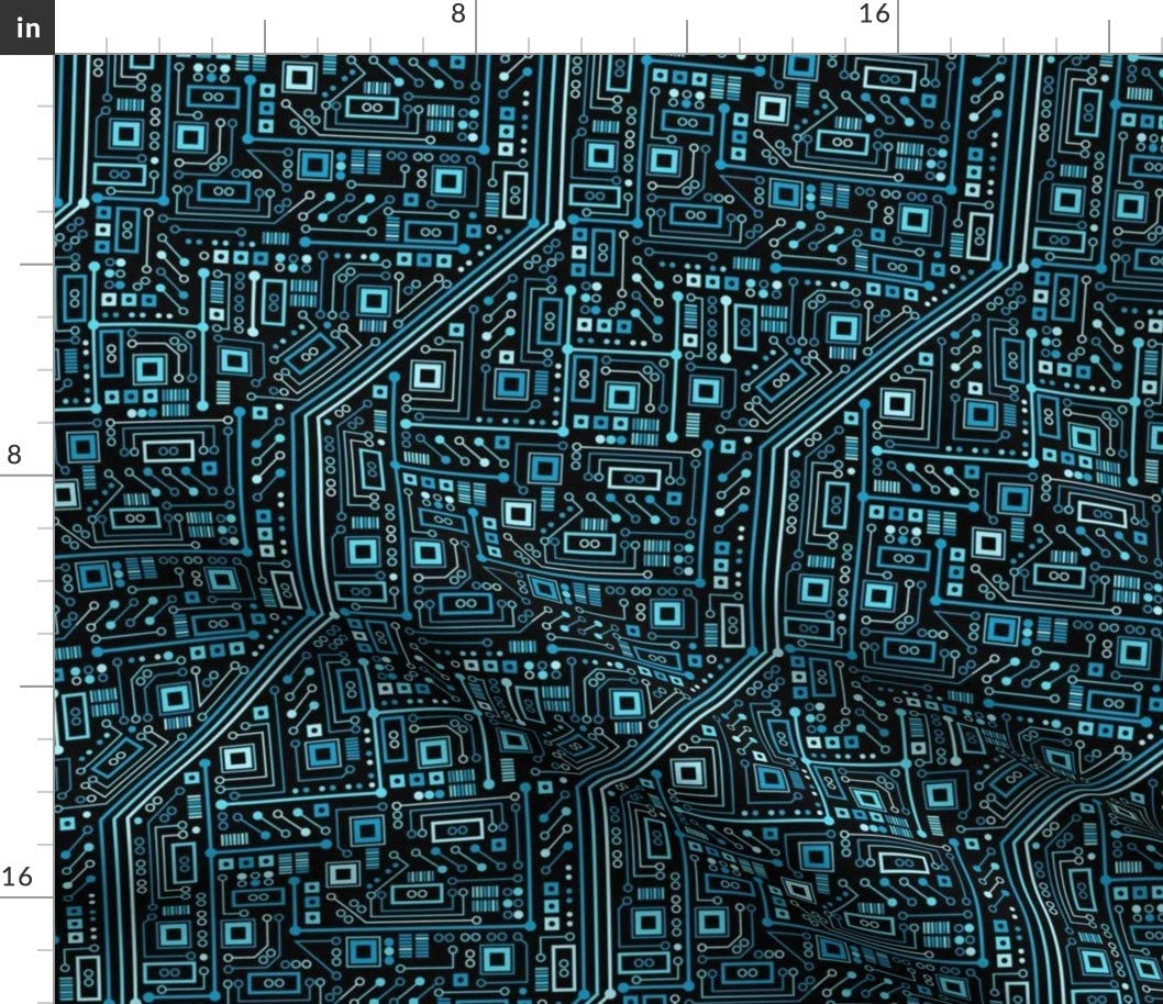 Spoonflower Fabric - Circuit Board, Blue, Black, Geek, Computer, Nerd, Robot Printed on Petal Signature Cotton Fabric by The Yard - Sewing Quilting Apparel Crafts Decor