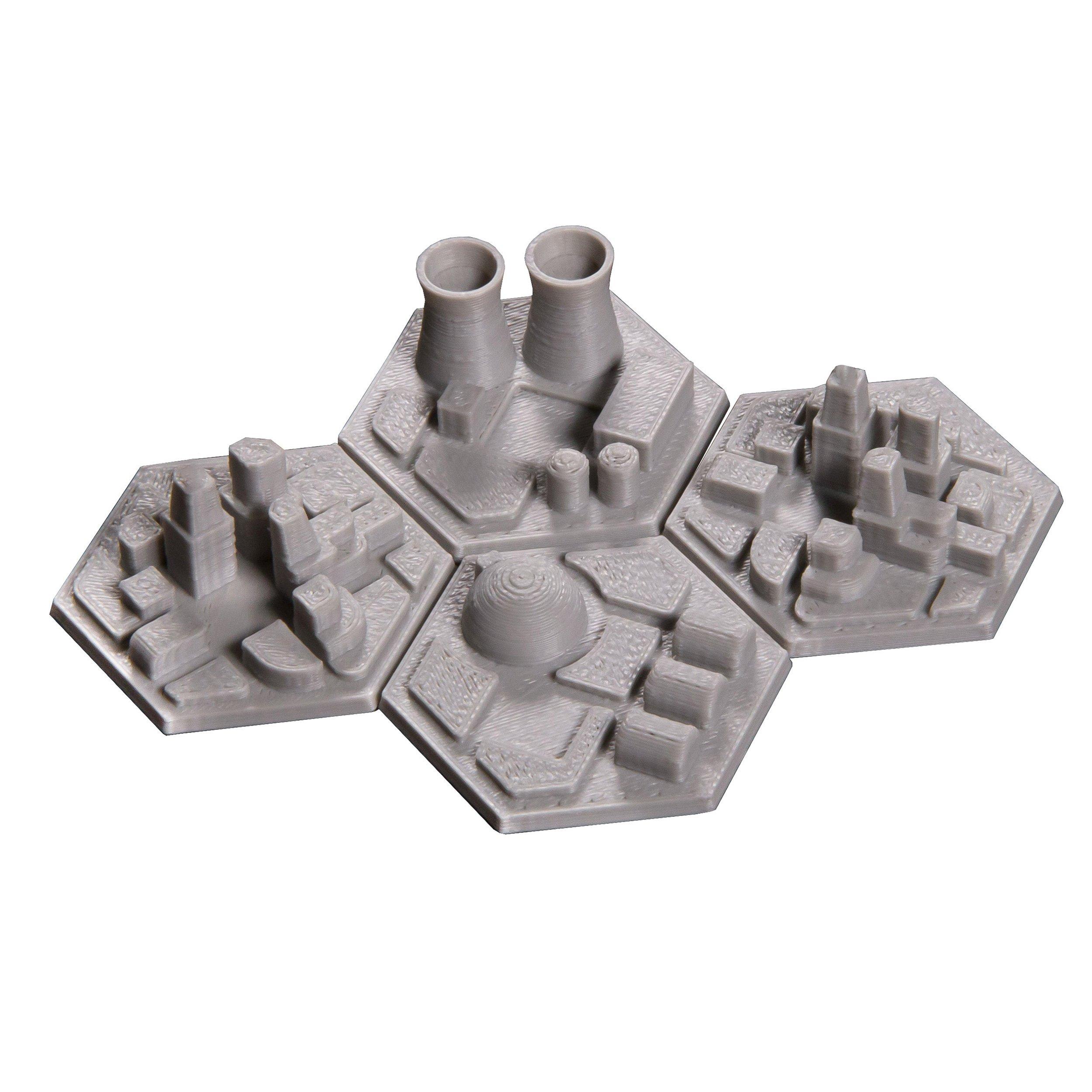 The Broken Token 3D Space Colony Hex Tiles for Terraforming Mars (4) by The Broken Token
