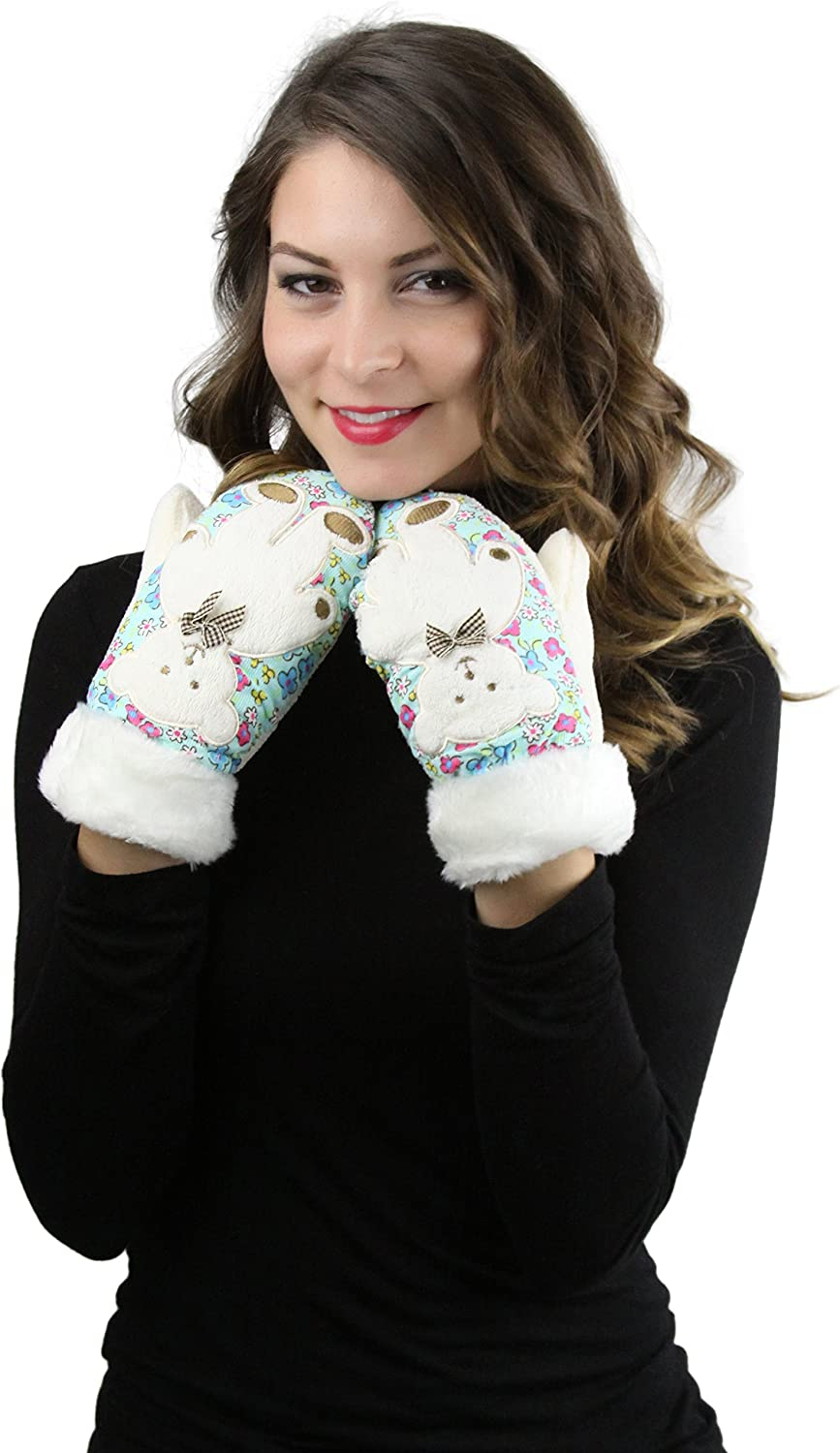 ToBeInStyle Womens Pack of 6 Bear Design Mittens
