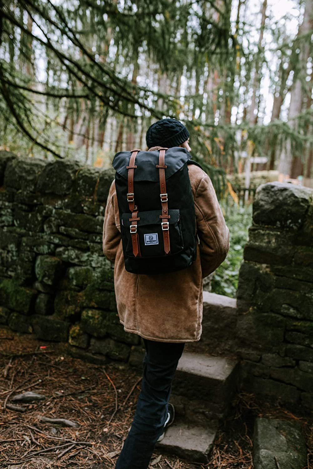 """84cf2a2093 Amazon.com: SEVENTEEN LONDON – Modern Unisex Outdoor Waterproof Hiking  Backpack with Classic Belt Detailing – Fits Laptop up to 15.6"""" - 4 Colors  (Black with ..."""