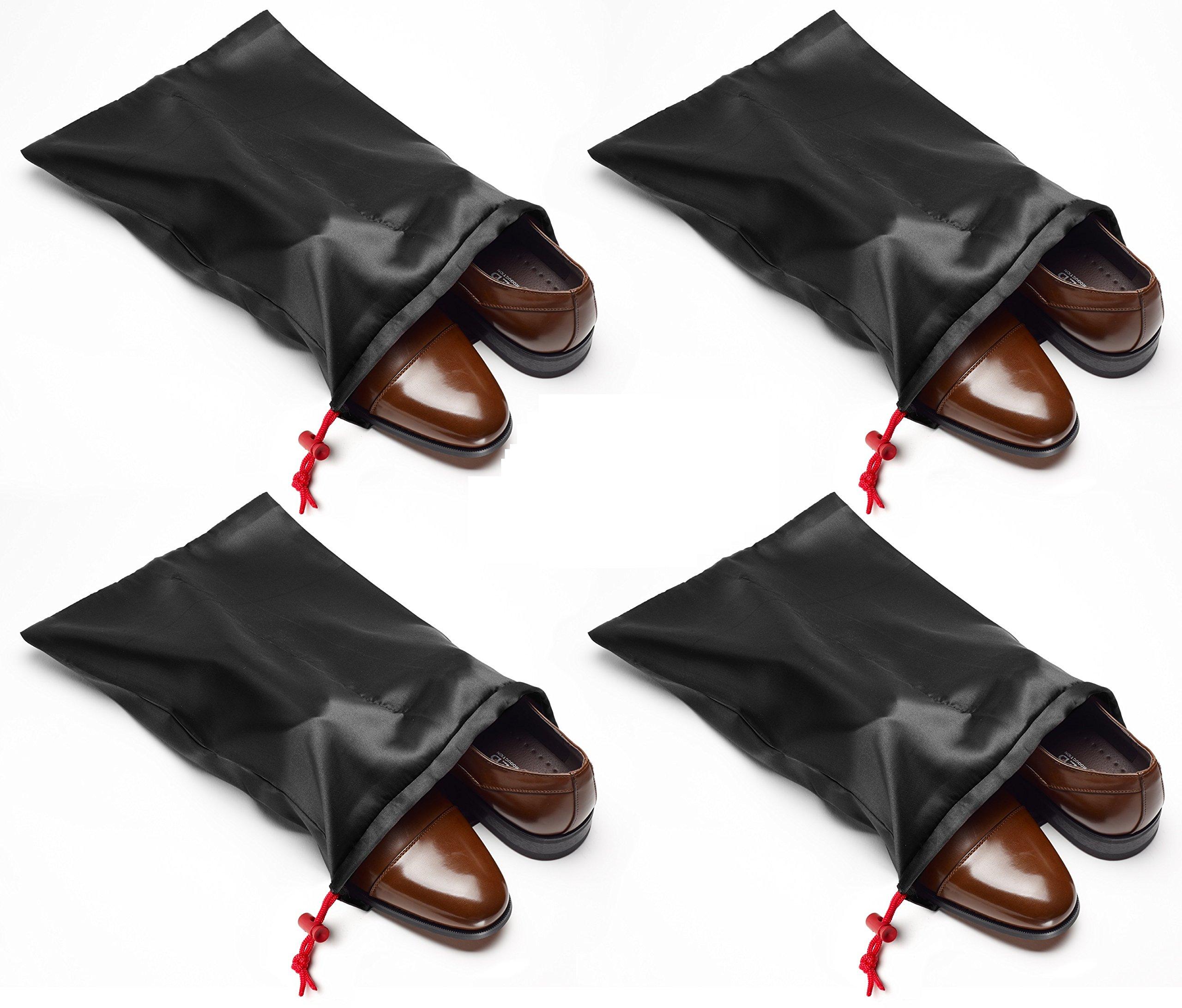 Tuff Guy Travel Shoe Bags 18''x 14'' w/Locking Drawstring and Center Divider. (Black) -Set of 4 Soft Nylon Shoe Bag. Woman and Men