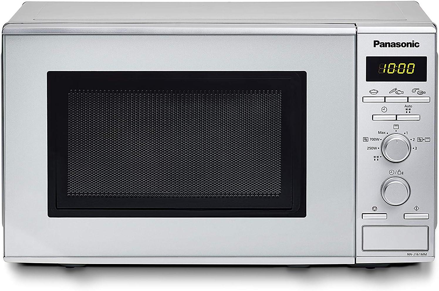Panasonic NN-J161 - Microondas con Grill (1000 W, 20 L, 4 niveles, Grill Cuarzo 1100 W, Plato Giratorio 255 mm, 9 modos) Plateado
