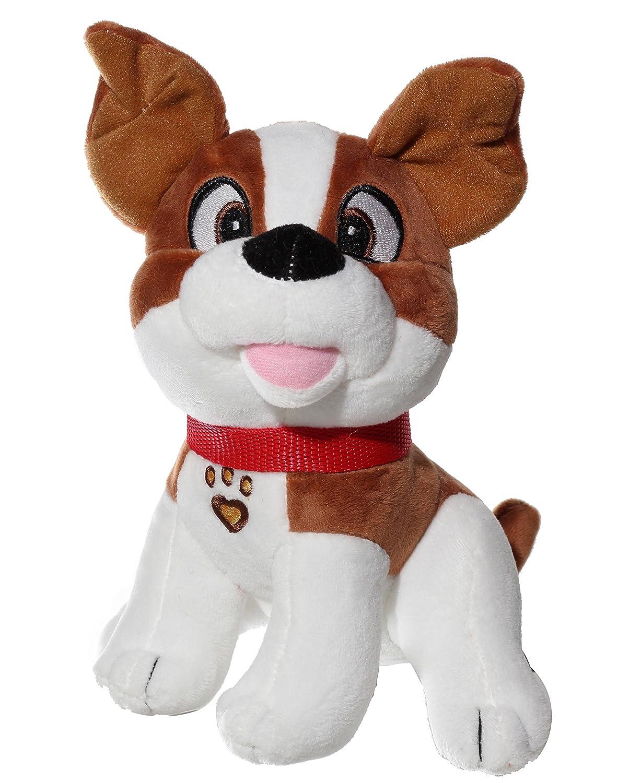 Animal Plush Doll Brown 9230-8 brown 8 Calplush Smiling Sitting Dog with Red Collar Plush