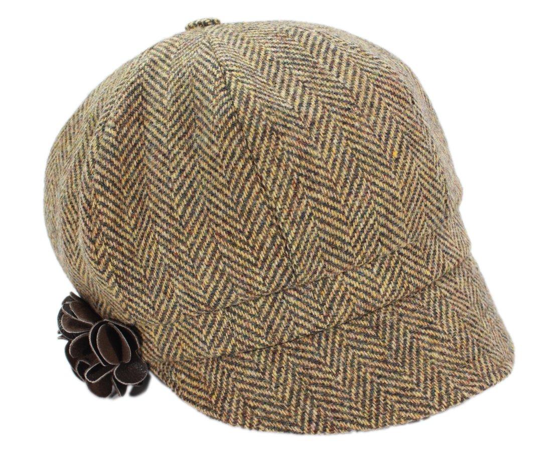 Womens Newsboy Cap 100% Black Wool Irish Made Mucros