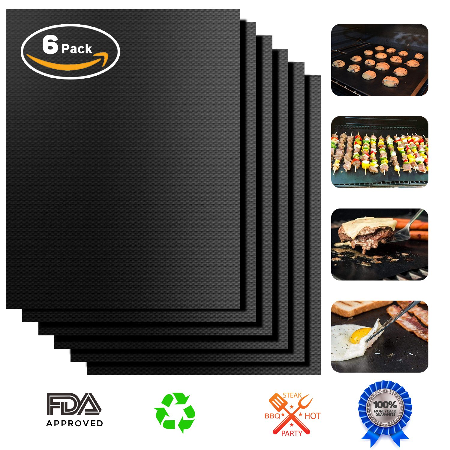Positivelife BBQ Grill Mat Pack of 6, Non-stick Barbecue Grill Pad & Baking Oven Mat as Electric, Gas and Charcoal Grill Mat- Heavy Duty, Reusable, Easy to Clean - Extended warranty - 15.75 x 13 Inch