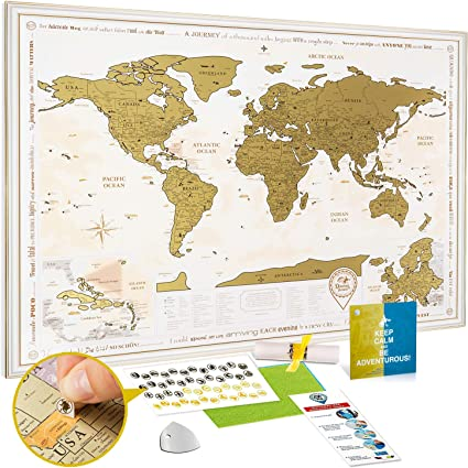 Mapa Rascar en el Marco Blanco-Dorado - Mapa del Mundo para Raspar Grande Detallado 88x62cm - Mapamundi